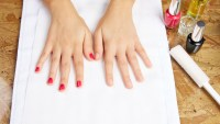 at-home manicure stock photo