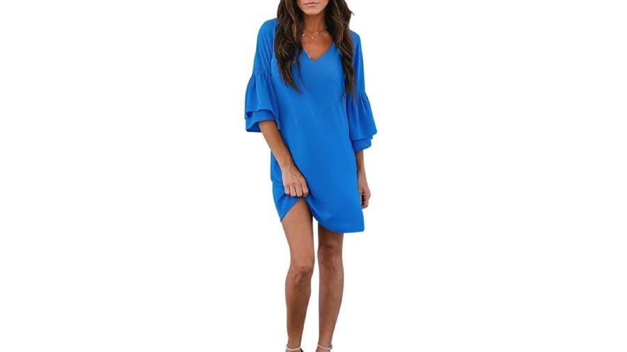BELONGSCI Women's Bell Sleeve Shift Mini Dress (Blue)