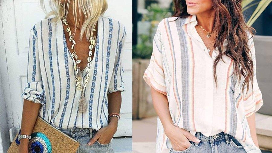 HOTAPEI Women's Casual Cuffed Sleeve Button Down Shirt