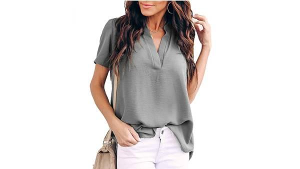 Allimy Women's Summer Casual Split V Neckline Loose Tunic Short Sleeve Top