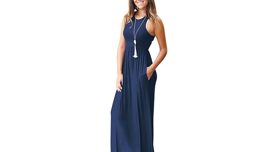 GRECERELLE Women's Sleeveless Racerback Loose Plain Maxi Dress