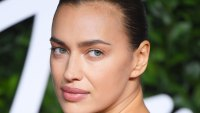 Makeup-Free Irina Shayk Works Her Angles in Black Lingerie