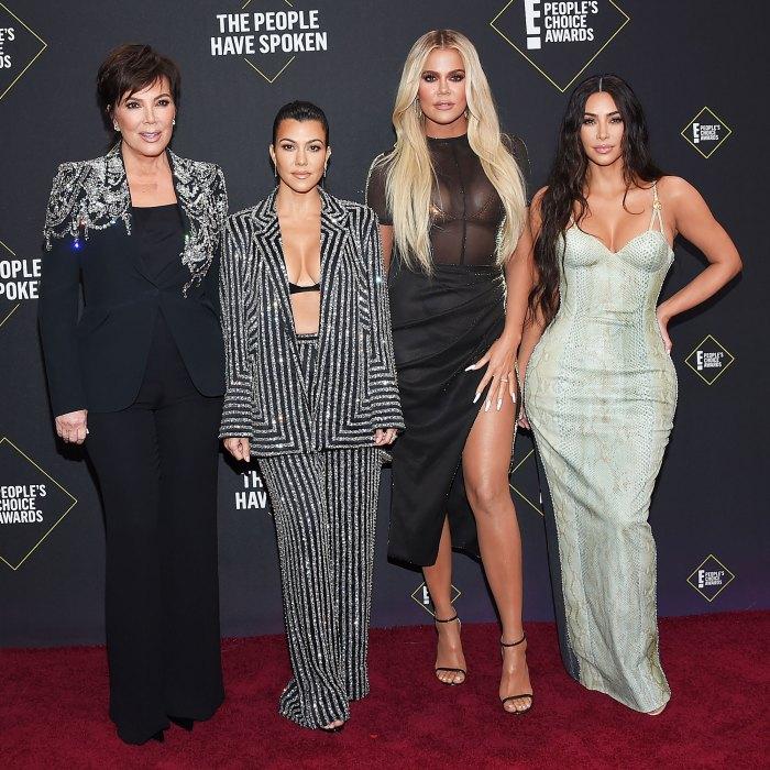 Kris Jenner Kourtney Kardashian Khloe Kardashian and Kim Kardashian at the Peoples Choice Awards 2019 Kim Kardashian and Her Family Think Kanye West Crossed a Line by Sharing Private Family Matters