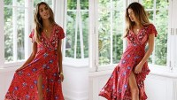PRETTYGARDEN Women's Summer V Neck Wrap Vintage Floral Print Dress