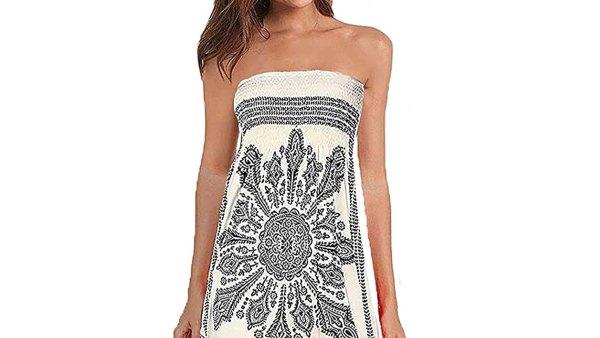 QegarTop Women's Summer Strapless Beach Dress