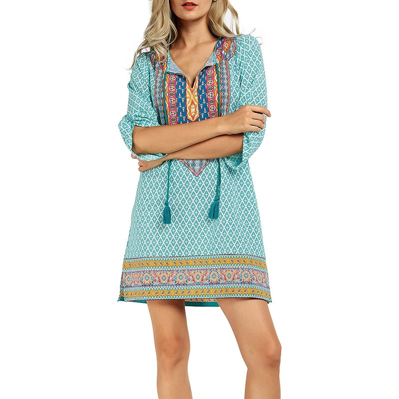 Urban CoCo Bohemian Neck Tie Vintage Printed Summer Shift Dress