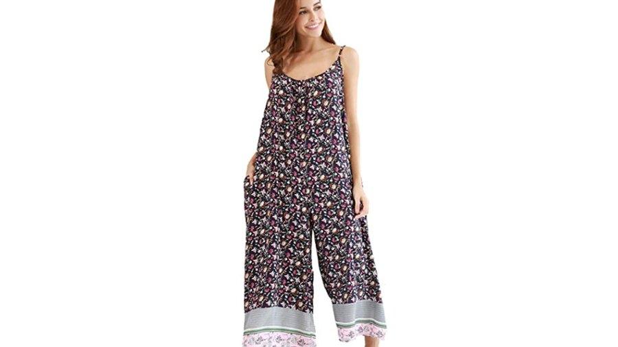 BUENOS NINOS Women's V Neck Floral Boho Printed Adjustable Spaghetti Strap Jumpsuit