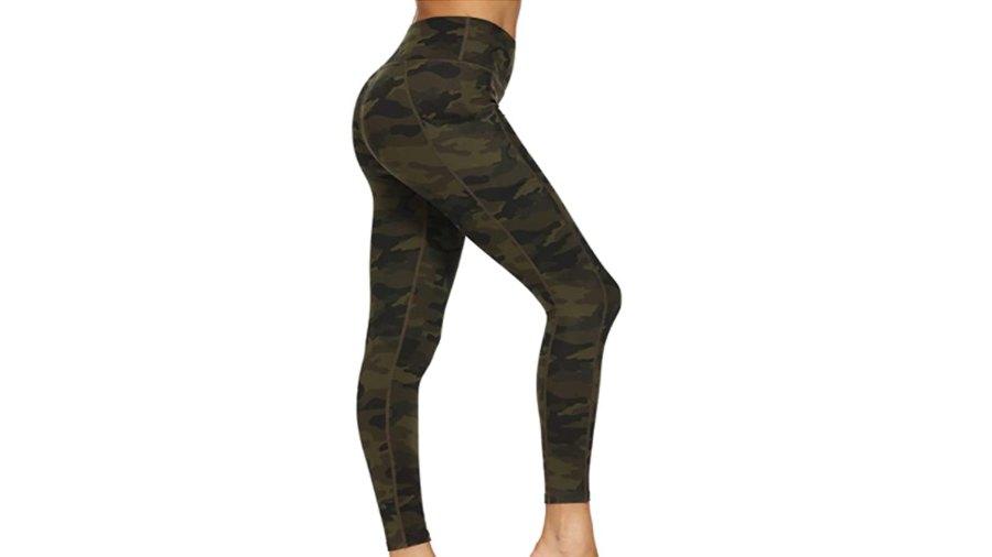 Houmous Women's High Waisted Pattern Yoga Pants 7-8 Length Leggings (Deep Green Camo)