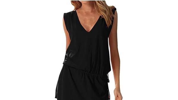 Hount Women's Beach Swimsuit Cover up Deep V-Neck Short Mini Dress