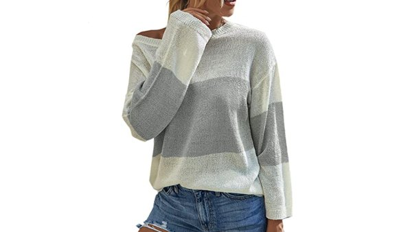 Angashion Women's Color Block Long Sleeve Crew Neck Pullover