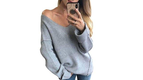 Glamaker Women's Oversized V-Neck Off Shoulder Sweater