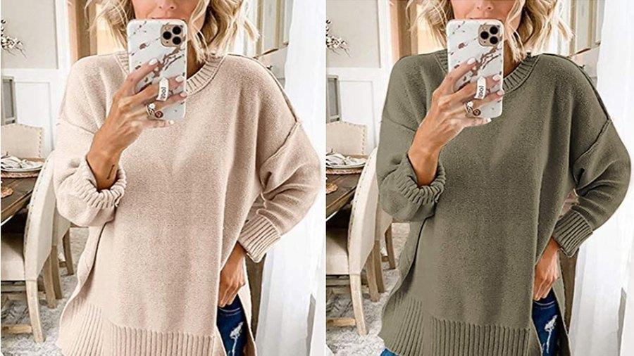 MEROKEETY Women's Casual Crew Neck Side Split Pullover Sweater