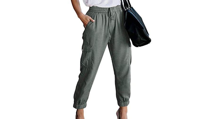 Meilidress Women's Elastic Waist Cargo Casual Drawstring Jogger Trousers