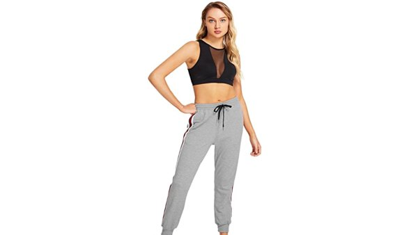 SweatyRocks Women's Drawstring Waist Striped Side Jogger Sweatpants