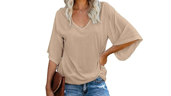 cordat Women's Blouse Tops Loose V Neck 3/4 Bell Sleeve Shirt