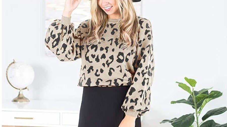 MEROKEETY Crew Neck Leopard-Print Balloon-Sleeve Pullover Sweater