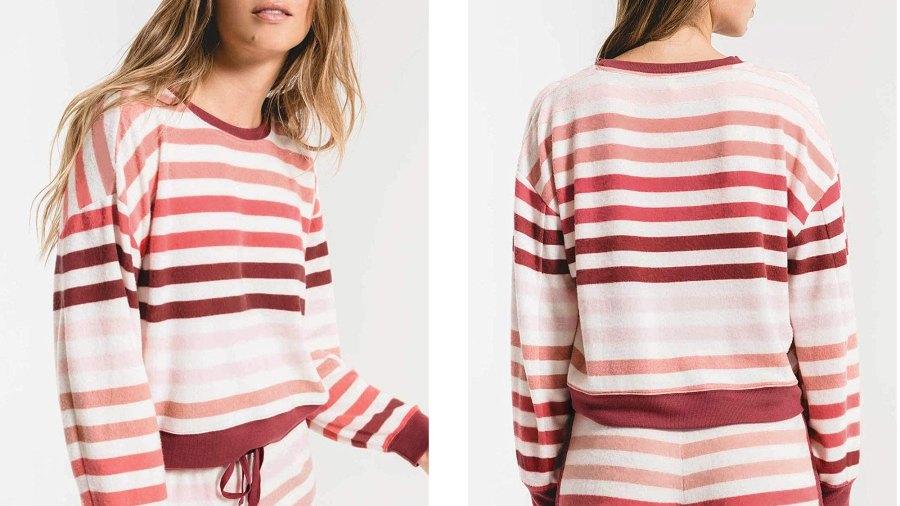 ZESICA Long Sleeve Rainbow Striped Color-Block Pullover Pajama Set