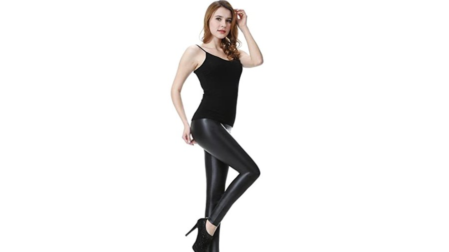Everbellus Sexy Women's Faux Leather High Waisted Leggings