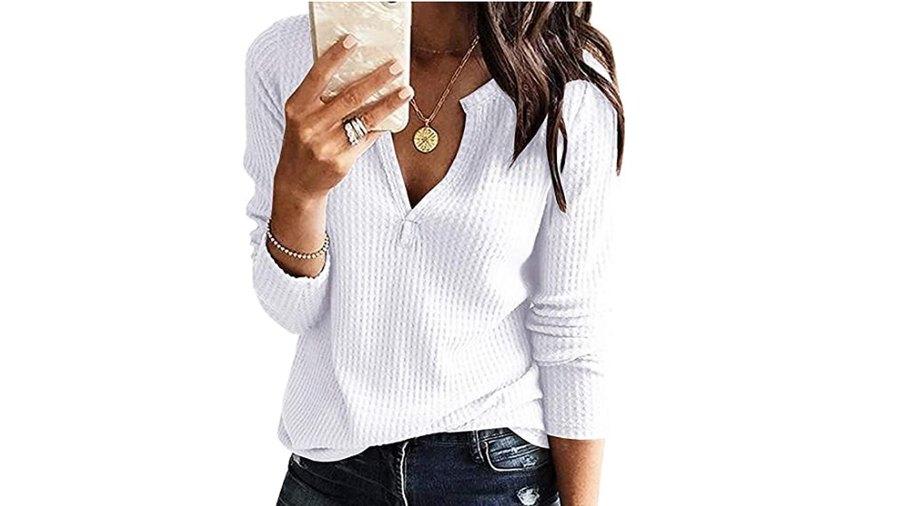 Farktop Women's V Neck Waffle Knit Henley Top