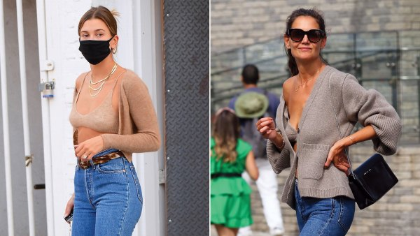 Hailey Baldwin Channels Katie Holmes in Knit Bra and Cardigan: Pics