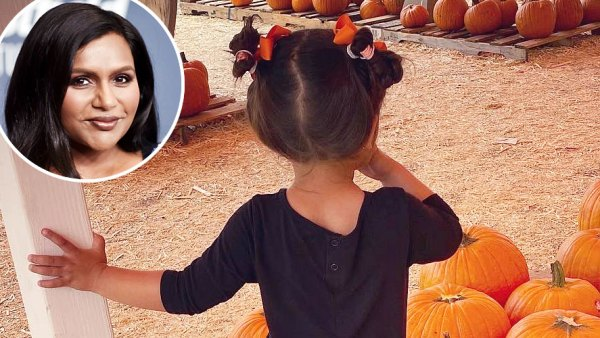 Mindy Kaling and Daughter Katherine Picking Pumpkins