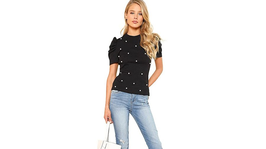 Romwe Women's Elegant Pearl Embellished Puff Short Sleeve Embroidered Blouse