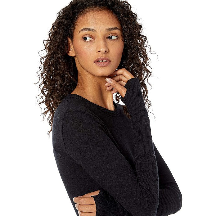 Enza Costa Cashmere-Blend Cuffed Crew Top With Thumbholes
