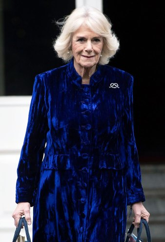 Duchess Camilla Is Holiday Dressing Goals in a Blue Velvet Coat