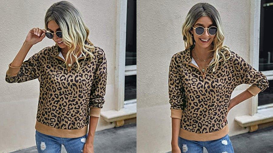 ECOWISH Women's Leopard Lightweight Zipper Sweatshirt Pullover