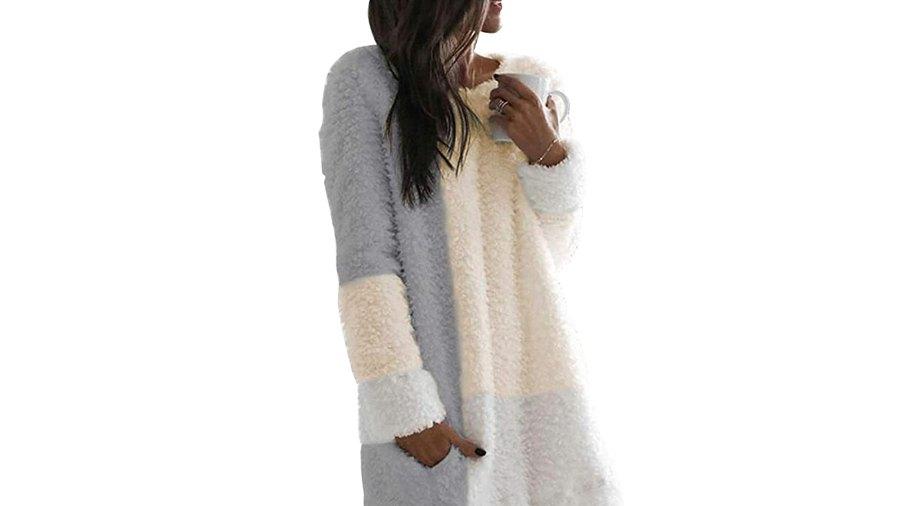 Nirovien Women's Long Sherpa Color Block Fuzzy Fleece Tunic Sweatshirt Dress