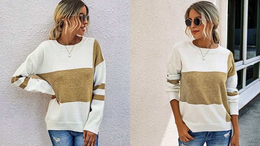 PRETTYGARDEN Women's Casual Long Sleeve Knitted Color Block Sweater