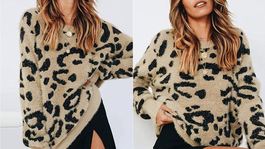 Saodimallsu Women's Leopard Crewneck Oversized Sherpa Sweater
