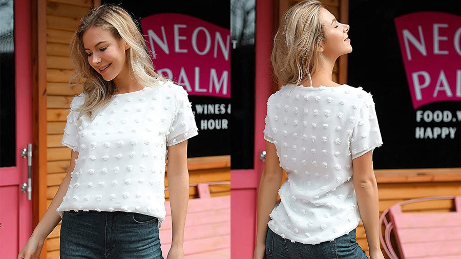 Blooming Jelly Women's Chiffon Blouse Casual Round Neck Short Sleeve Pom Pom Top