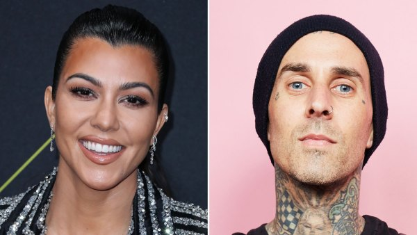 Kourtney Kardashian Beams While Hanging Out With Boyfriend Travis Barker in the Studio