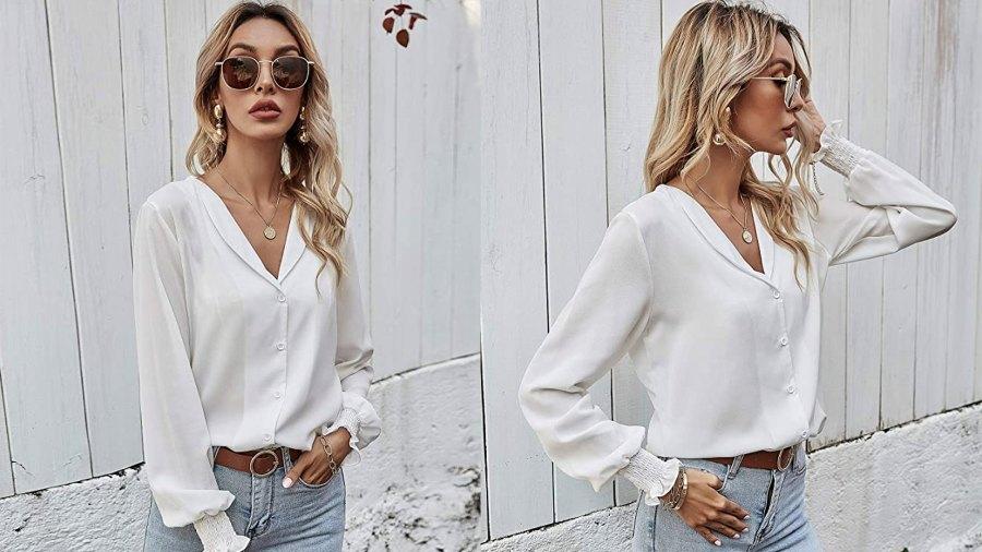 LOMON Women's Casual V Neck Long Sleeve Button Down Blouse