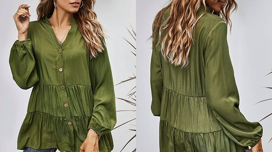 MissyLife Women's Loose Fit V Neck Babydoll Button Down Ruffle Hem Tunic Top