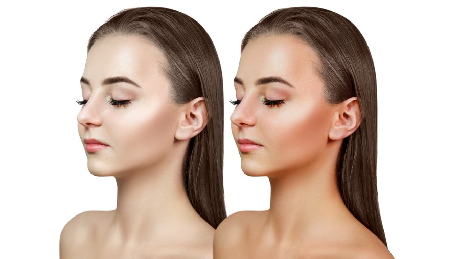 Before-After-Bronzer-Stock-Photo