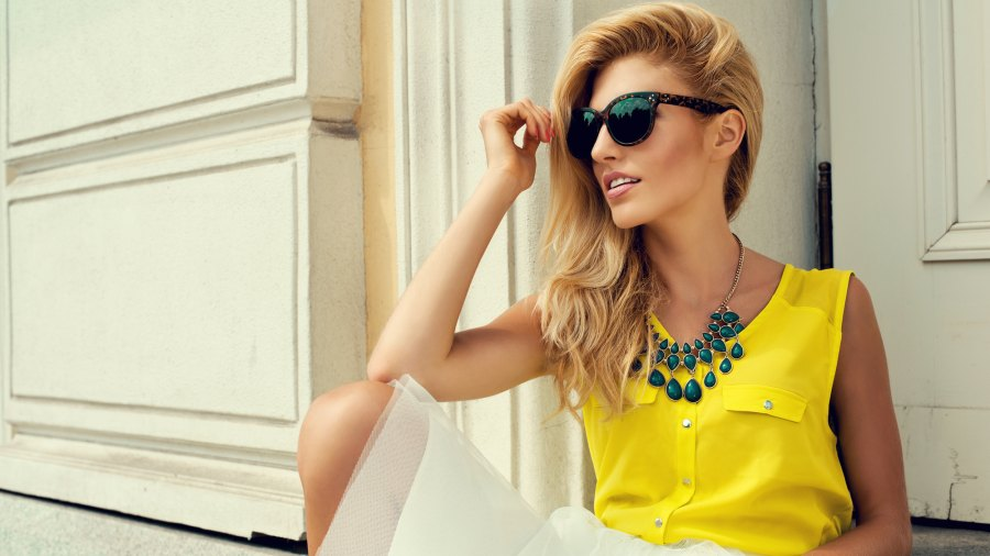 Woman-Wearing-Statement-Necklace-Stock-Photo