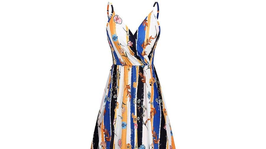 Newshows Women's Summer Spaghetti Strap Sleeveless V-Neck Casual Swing Sundress with Pockets