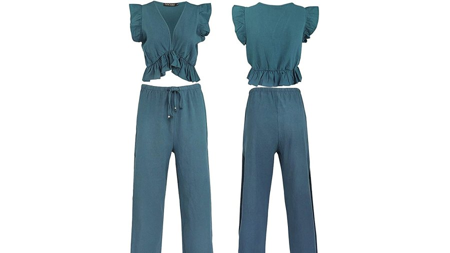 FANCYINN Women's 2 Piece Crop Top Side Slit Drawstring Wide Leg Pants Set