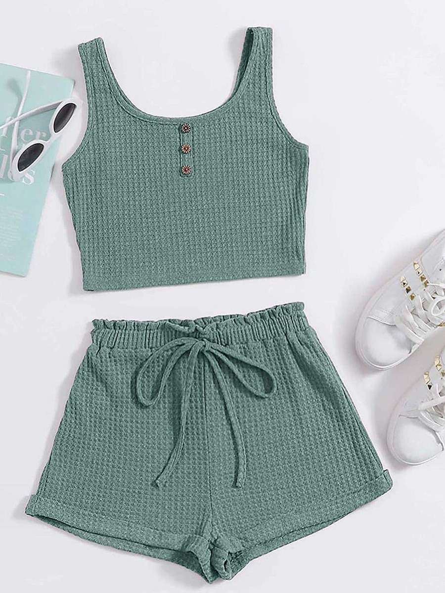 Floerns Scoop Neck Button Front Crop Tank Top and Track Shorts Outfit Set