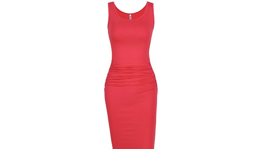 Ruched Knee Length Bodycon Dress