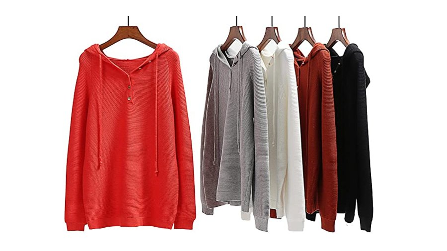 Angashion Women's Pullover Button Up V Neck Knit Hooded Henley Sweater