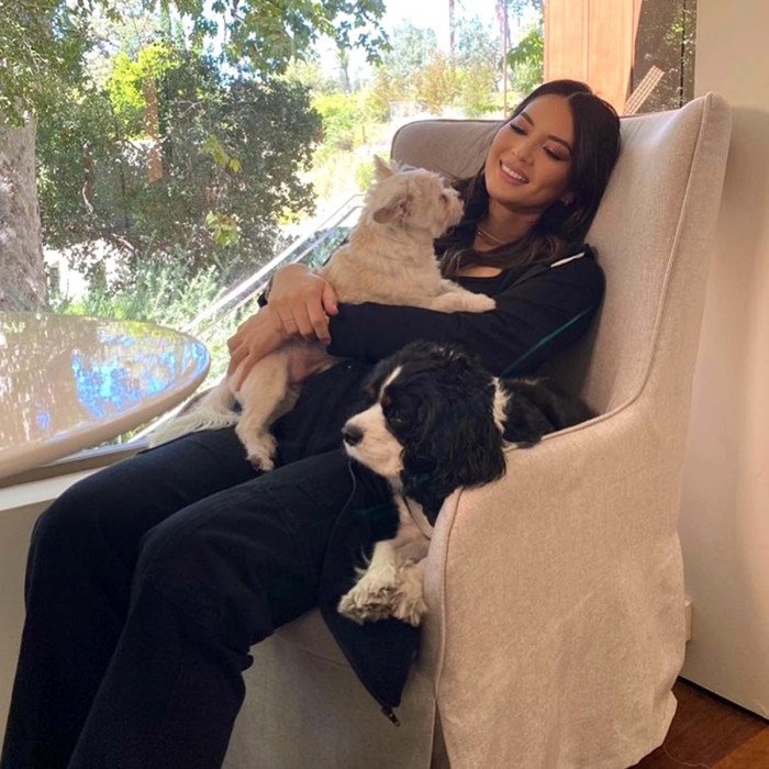 Pregnant Olivia Munn Shows Baby Bump While Cuddling With Dogs Photo