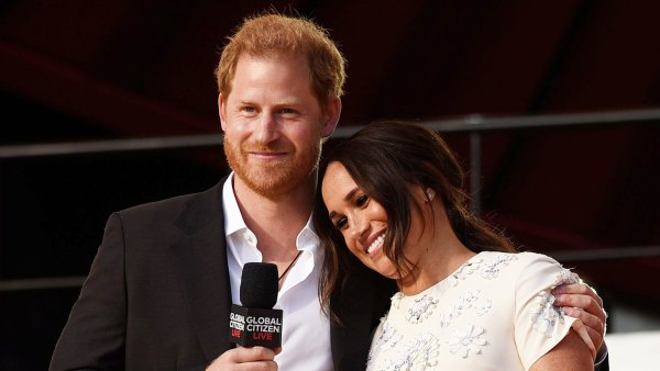 Meghan Markle leans on Prince Harry at Global Citizen