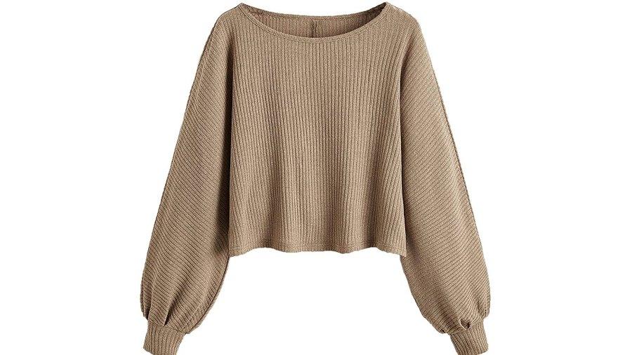 SweatyRocks Women's Ribbed Knit Raglan Long Sleeve Crop Top