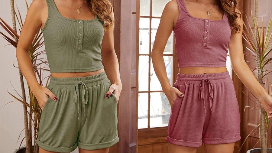MEROKEETY Women's Ribbed Crop Top and Shorts Pajama Set