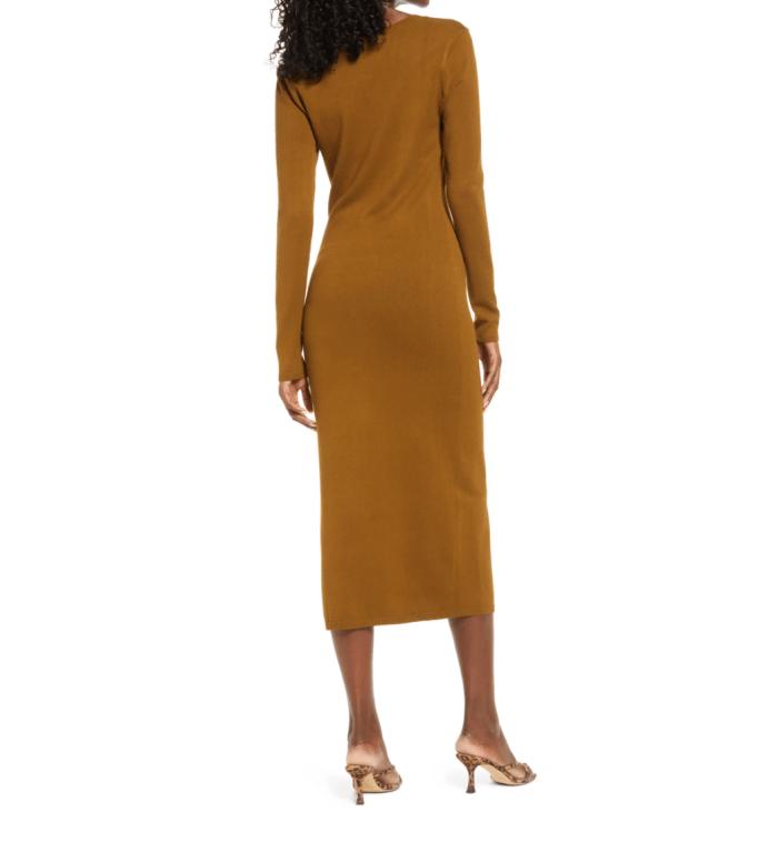Open Edit High Slit Midi Sweater Dress.