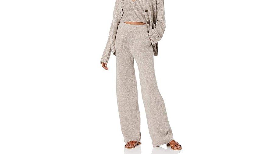 The Drop Women's Cynthia Wide Leg Sweater Pant