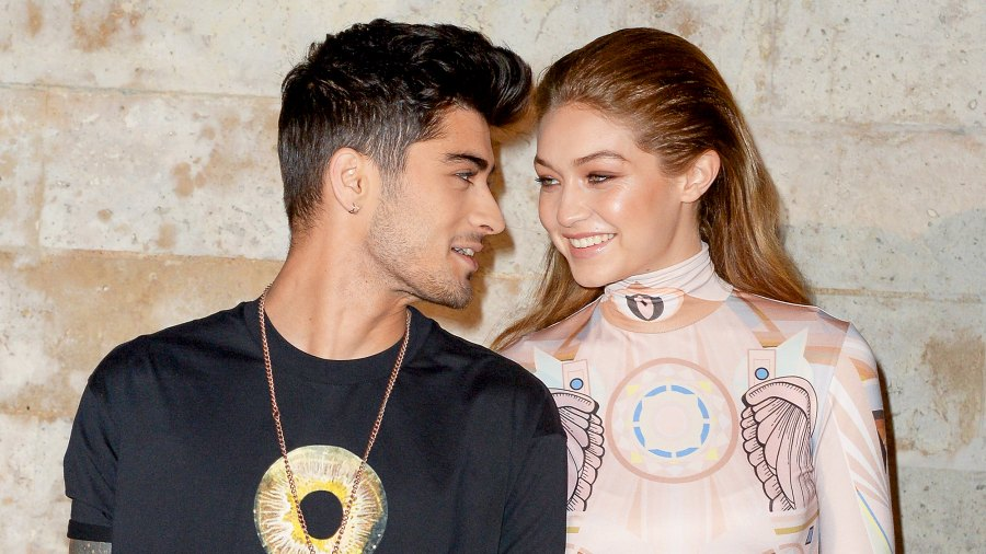 Gigi Hadid and Zayn attend the Givenchy show during Paris Fashion Week in 2016.
